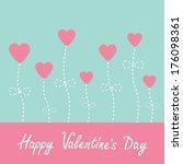 vector love card. heart flowers.... | Shutterstock . vector #176098361