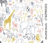 hand drawn african animals and...   Shutterstock .eps vector #1760984201
