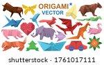 Origami Vector Cartoon Set Icon....