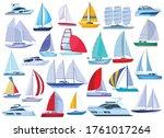 Sail Yacht Vector Cartoon Set...