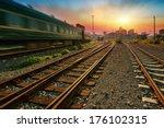 cargo train platform at sunset... | Shutterstock . vector #176102315