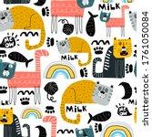 seamless pattern with cartoon...   Shutterstock .eps vector #1761050084