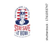 uncle sam ordering you to stay... | Shutterstock .eps vector #1761053747