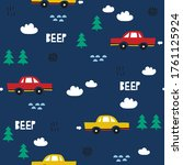 seamless pattern with cars  fir ... | Shutterstock .eps vector #1761125924