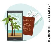 passport with boarding pass...   Shutterstock .eps vector #1761128687
