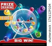 lottery machine. wheel drum... | Shutterstock .eps vector #1761129104