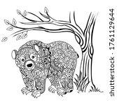 Cute Bear Coloring Book Vector...