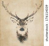 deer portrait made of... | Shutterstock .eps vector #176114039