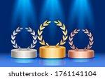 winners podium with laurel...   Shutterstock .eps vector #1761141104