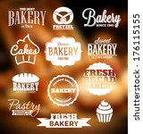 retro style bakery badges and... | Shutterstock .eps vector #176115155