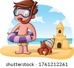 group boy on the beach with a... | Shutterstock .eps vector #1761212261