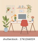 workplace with computer  mood... | Shutterstock .eps vector #1761266024