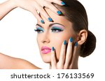 cute  attractive woman with... | Shutterstock . vector #176133569