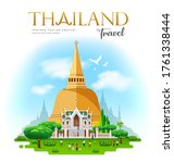 phra pathommachedi is a stupa... | Shutterstock .eps vector #1761338444