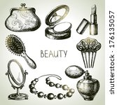 Beauty Sketch Icon Set. Vintage ...