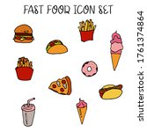 vector colorful fast food and... | Shutterstock .eps vector #1761374864