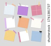 set of paper notes  blank... | Shutterstock .eps vector #1761381737