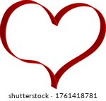 3 d red heart   outline drawing ... | Shutterstock .eps vector #1761418781