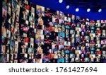 Blurred led screen of many...