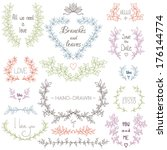 set of hand drawn laurels and... | Shutterstock .eps vector #176144774