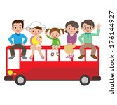 happy family and tourist bus   Shutterstock .eps vector #176144927