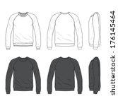 blank men's raglan long sleeve... | Shutterstock .eps vector #176145464