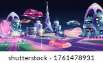 future night city with flying... | Shutterstock .eps vector #1761478931