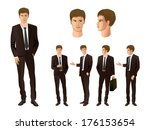 businessman in various poses | Shutterstock .eps vector #176153654