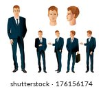 businessman in various poses | Shutterstock .eps vector #176156174