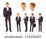 businessman in various poses | Shutterstock .eps vector #176156207