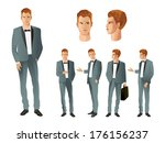businessman in various poses | Shutterstock .eps vector #176156237