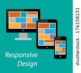 flat responsive design of...