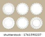 set of cute lace doilies ... | Shutterstock .eps vector #1761590237