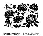 peony and anemones hand drawn... | Shutterstock .eps vector #1761609344