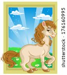 fairytale unicorn on color... | Shutterstock . vector #176160995