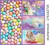 Easter collage includes a macro of speckled, pastel colored jelly beans, and still life images of eggs and easter bunnies with pastel backgrounds. - stock photo