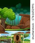 four different nature scene of... | Shutterstock .eps vector #1761652991