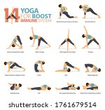 infographic of 14 yoga poses... | Shutterstock .eps vector #1761679514