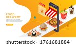 food delivery mobile phone.... | Shutterstock .eps vector #1761681884