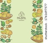 background with falafel in pita ... | Shutterstock .eps vector #1761697577