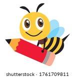 cartoon cute happy bee mascot... | Shutterstock .eps vector #1761709811