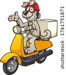 cartoon dog on a delivery... | Shutterstock .eps vector #1761751871