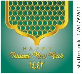 happy new year hijri 1442.... | Shutterstock .eps vector #1761792611