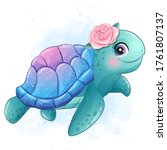 Cute Little Sea Turtle With...