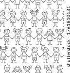seamless pattern of funny kids... | Shutterstock .eps vector #1761810131