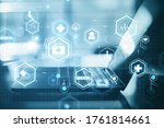 close up of blurry laptop with...   Shutterstock . vector #1761814661