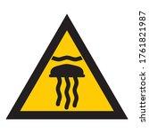 sign dangerous jellyfish.... | Shutterstock .eps vector #1761821987
