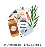 colorful bottle and tubes of...   Shutterstock .eps vector #1761827861