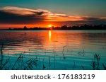 sunset in danube delta  romania.... | Shutterstock . vector #176183219