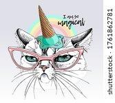 portrait of the funny grumpy...   Shutterstock .eps vector #1761862781